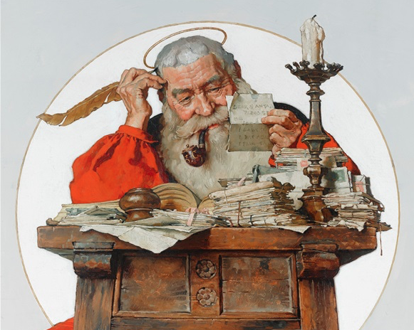 Norman Rockwell - Santa reading mail