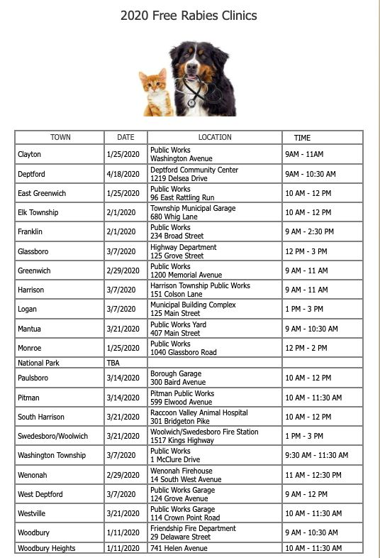 2020 Rabies Clinic Listing for Gloucester County