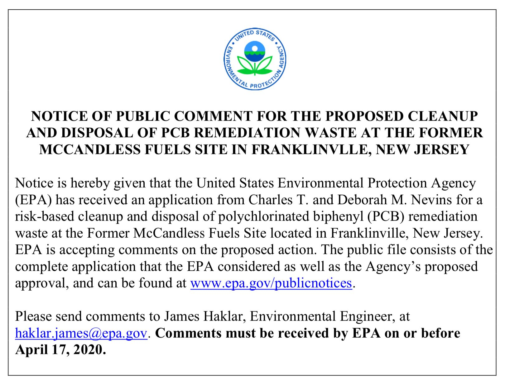Notice of Public Comment for PCB Remediation at McCandless Site