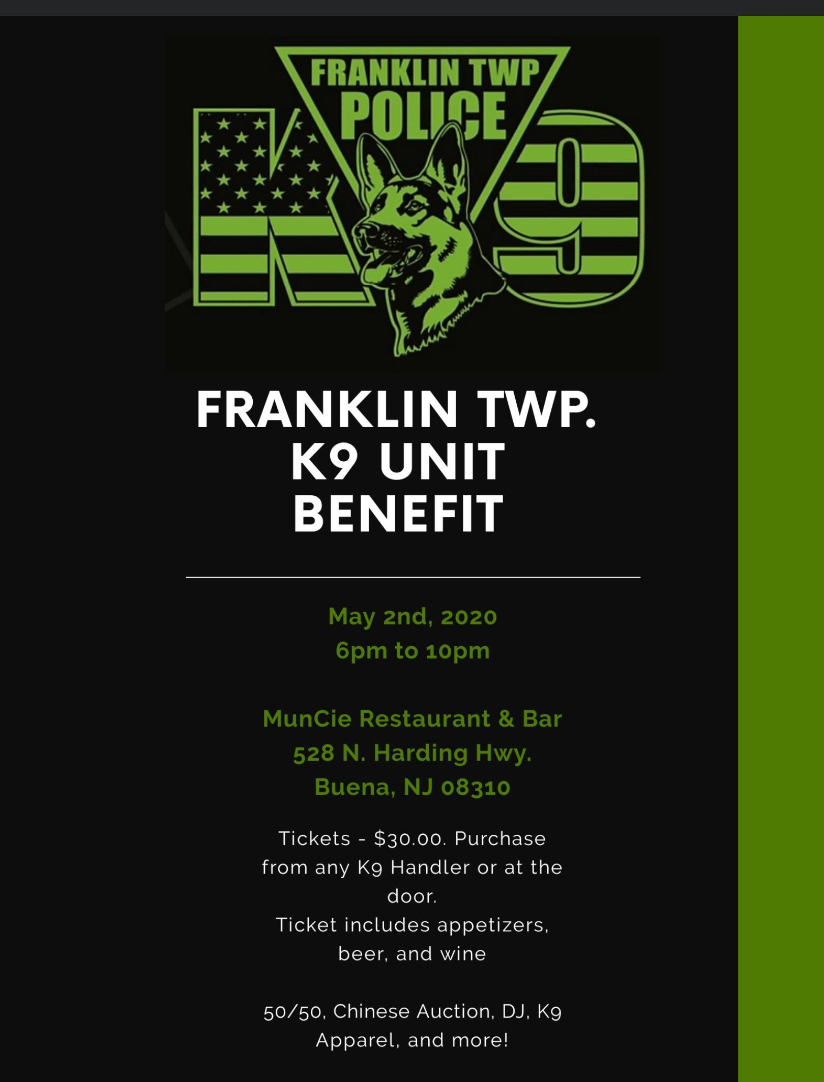 Flyer for May 2 K-9 Benefit